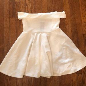 White OTS skater dress